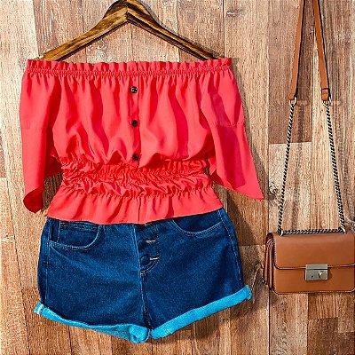Blusa Ciganinha com Botões Lastex Tatiana Red