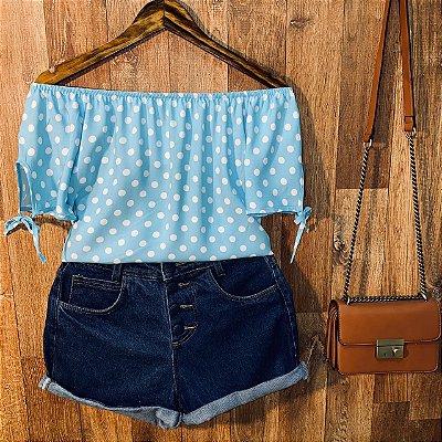 Blusa Ciganinha Com Lacinho Manga Tatiana Poá Azul Claro