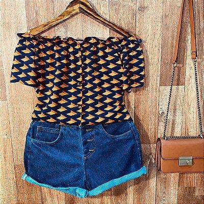 Blusa Ciganinha Manga Curta Botões Daniela Fashion Azul