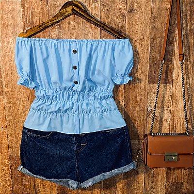 Blusa Ciganinha Manga Curta com Botões Tatiana Azul Claro