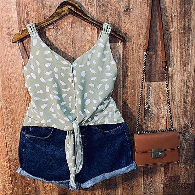 Blusa de Alcinha Amarrar Daniela Animal Print Verde
