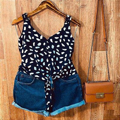 Blusa de Alcinha Amarrar Daniela Animal Print Azul Marinho