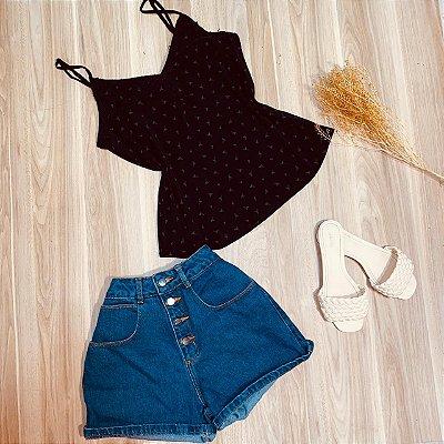 Blusa de Alcinha Luana Flamingos Black