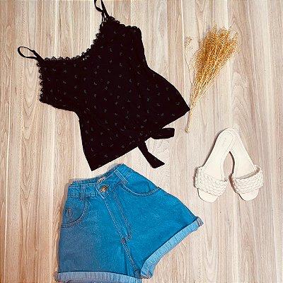 Blusa de Alcinha Amarrar Luana Folhas Black