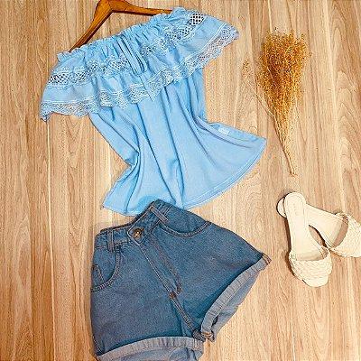Blusa Ciganinha com Babado e Guipir Luana Azul Claro