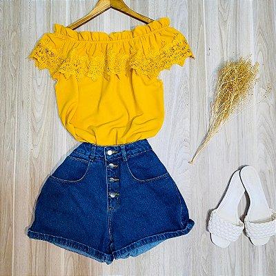 Blusa Ciganinha com Renda Luana Amarelo