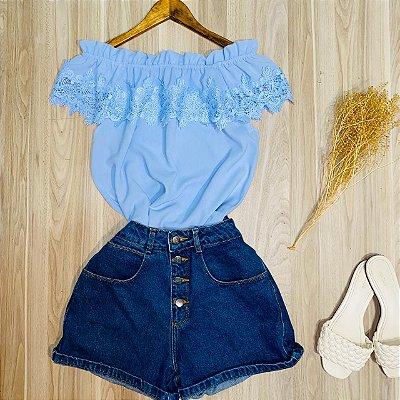 Blusa Ciganinha com Renda Luana Azul Claro