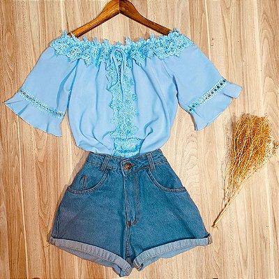 Blusa Ciganinha com Guipir e Babado Luana Azul Claro