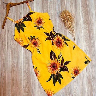 Vestido Alcinha Midi Girassóis Luana Amarelo