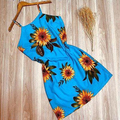 Vestido Alcinha Midi Girassóis Luana Azul Claro