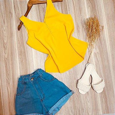 Blusa Regata com Botões Encapados Luana Amarela