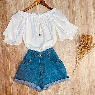 Blusa Ciganinha Manga Curta Fashion White