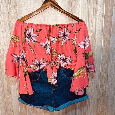Blusa Ciganinha 3|4 Cropped de Amarrar Luana Flower Rosa