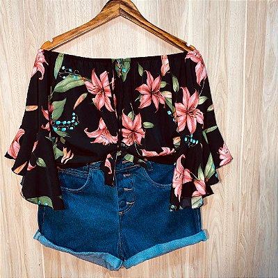 Blusa Ciganinha 3|4 Cropped de Amarrar Luana Flower Black
