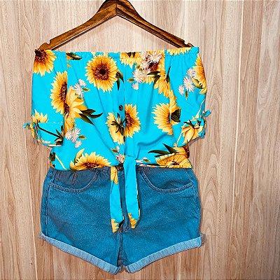 Blusa Ciganinha Cropped de amarrar Luana Girassóis