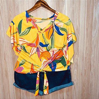 Blusa de amarrar Luana Floral Amarela
