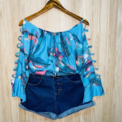 Blusa Ciganinha Manga Vazada LB Luana Folhas Azul Claro