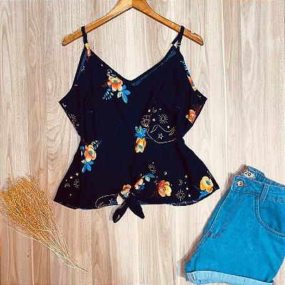 Blusa de Alcinha com Laço de Amarrar Floral Azul