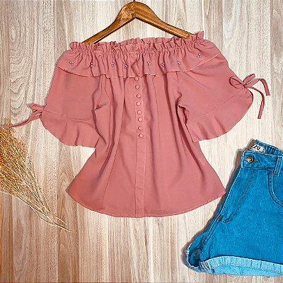 Blusa Ciganinha Detalhes de Pérolas e Botões Falsos Rosa