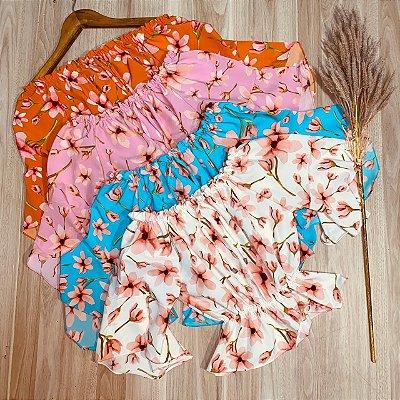 Blusa Ciganinha Cropped com Elástico Rebeca Flower