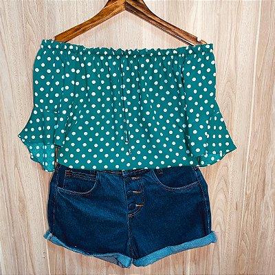 Blusa Ciganinha Manga Curta Fashion Rebeca Poá Verde