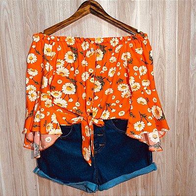 Blusa Ciganinha Cropped Manga 3|4 Flores Rebeca