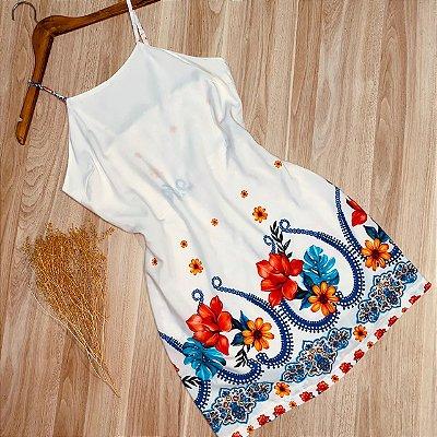 Vestido Alcinha Curto Mariah Flores Branco
