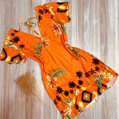 Vestido Curto Decote V Babado Mariah Tropical Laranja