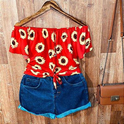 Blusa Ciganinha Cropped de Amarrar Mariah Girassóis Vermelho