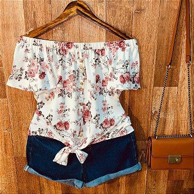 Blusa Ciganinha Botões Falsos de Amarrar Floral Mariah White