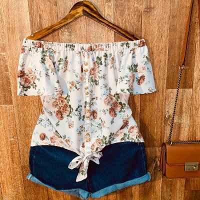 Blusa Ciganinha Botões Falsos de Amarrar Floral Mariah Rosê