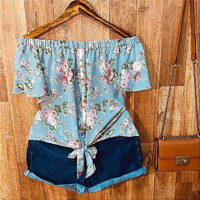 Blusa Ciganinha Botões Falsos de Amarrar Floral Mariah Cinza