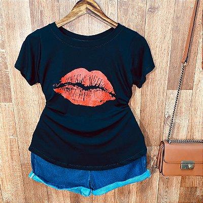 T-shirt Mouth com Glitter