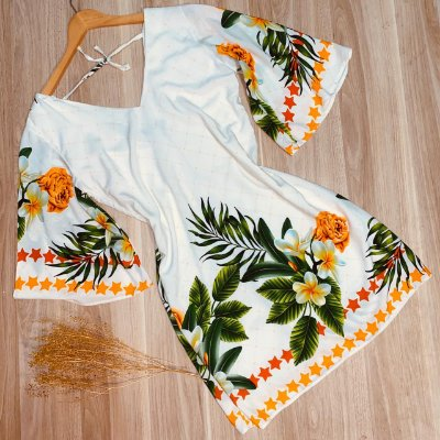 Vestido Manga 3|4 Decote V Frente e Costas Ana Floral Branco