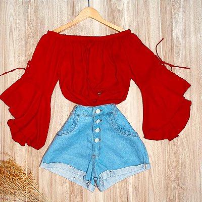 Blusa Ciganinha Manga 3 4 Lacinho Ana Vermelho