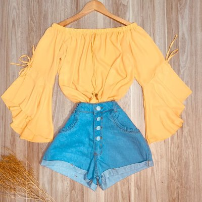 Blusa Ciganinha Manga 3 4 Lacinho Ana Amarelo