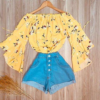 Blusa Ciganinha Manga 3|4 Lacinho Ana Florzinhas Amarelo