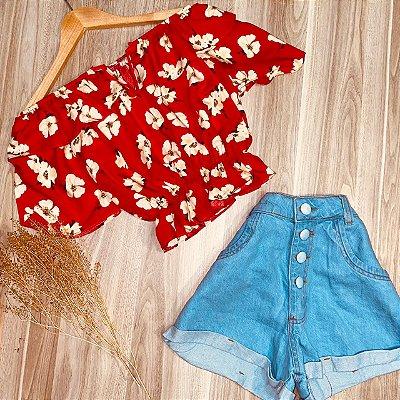 Blusa Ciganinha Cropped Decote V Elástico Embaixo Ana Red