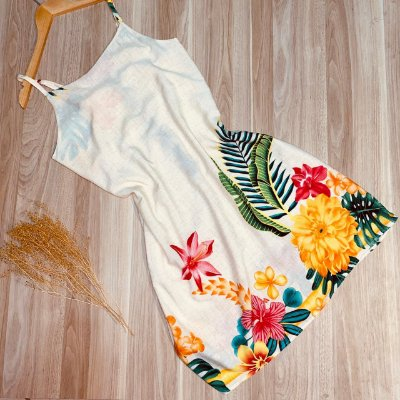 Vestido Alcinha Curto Ana Flower Creme