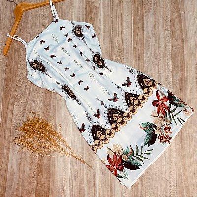 Vestido Alcinha Curto Ana Borboletas Branco