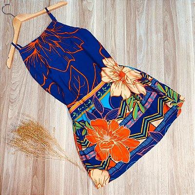 Vestido com Alça Regulável e Elástico Atrás Flores Ana Azul