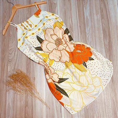 Vestido Frente Única de Amarrar Atrás Ana Floral Creme