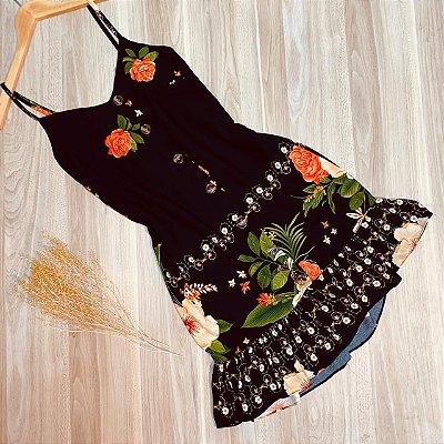 Vestido Alcinha Botões Monalisa Floral Black