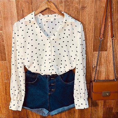 Camisa Monalisa Decote V Mini Corações Off