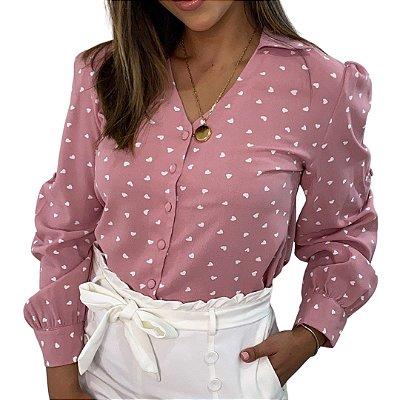 Camisa Monalisa Decote V Mini Corações Rosê