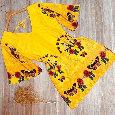 Vestido Manga 3|4 Decote V Monalisa Butterfly Amarelo