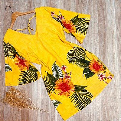 Vestido Manga 3|4 Decote V Monalisa Girassol Amarelo