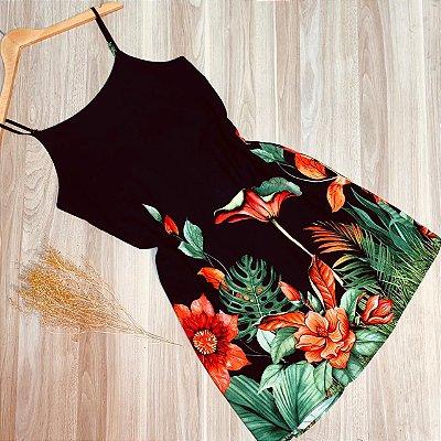 Vestido Alcinha Curto Monalisa Floral Black