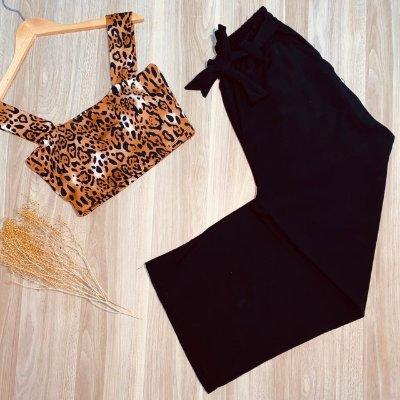 Top Cropped com Bojo Monalisa Animal Print