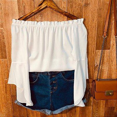 Blusa Ciganinha Manga 3|4 Fashion White